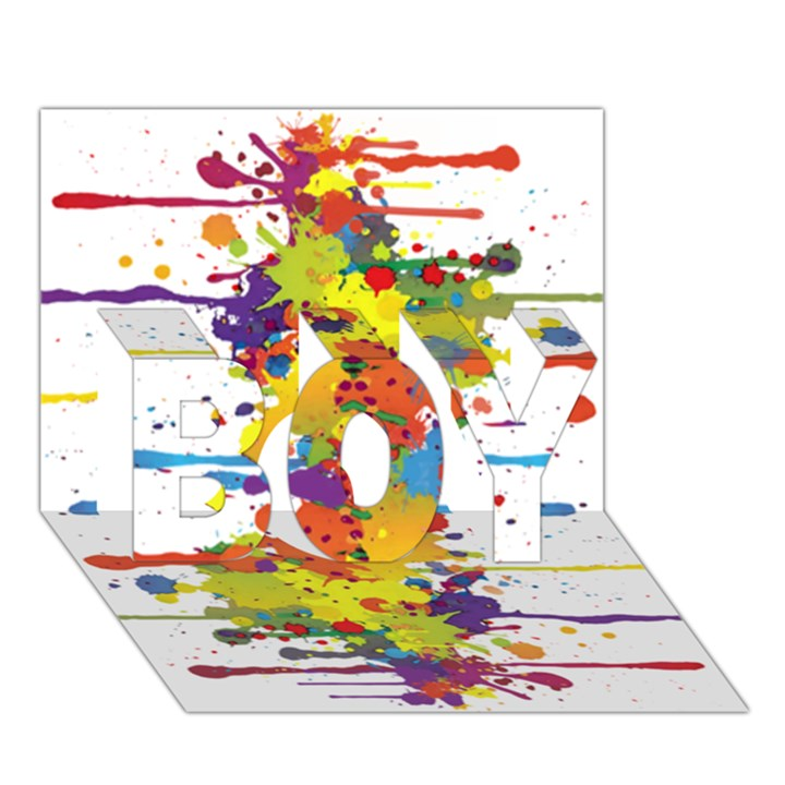 Crazy Multicolored Double Running Splashes BOY 3D Greeting Card (7x5)