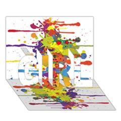 Crazy Multicolored Double Running Splashes Girl 3d Greeting Card (7x5) by EDDArt