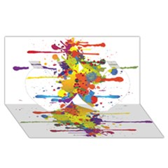 Crazy Multicolored Double Running Splashes Twin Hearts 3d Greeting Card (8x4)
