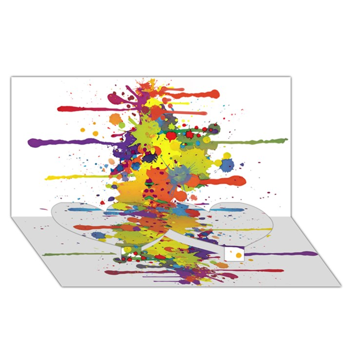 Crazy Multicolored Double Running Splashes Twin Heart Bottom 3D Greeting Card (8x4)