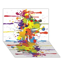 Crazy Multicolored Double Running Splashes Clover 3d Greeting Card (7x5) by EDDArt