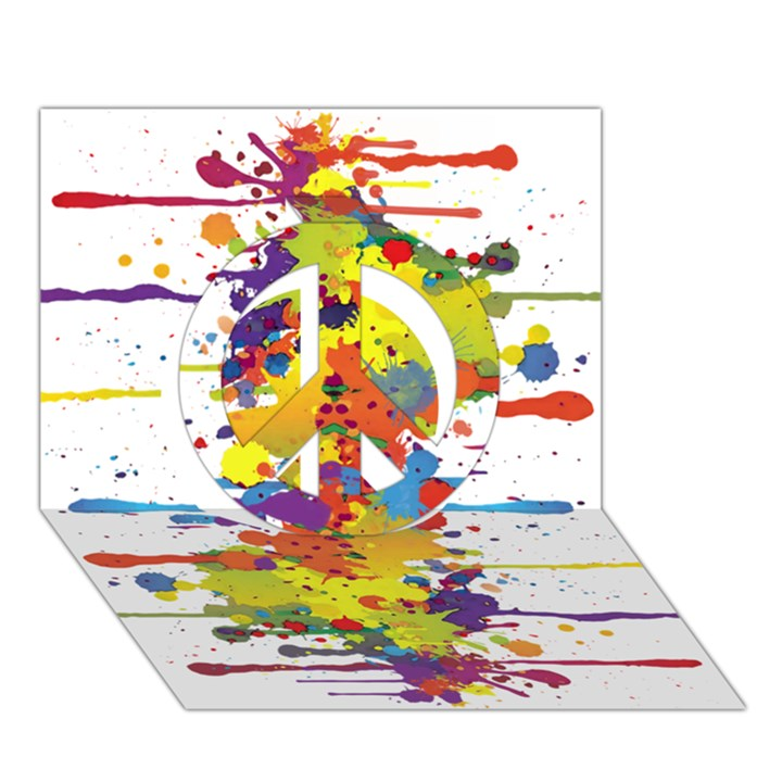 Crazy Multicolored Double Running Splashes Peace Sign 3D Greeting Card (7x5)