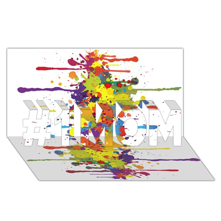Crazy Multicolored Double Running Splashes #1 MOM 3D Greeting Cards (8x4)
