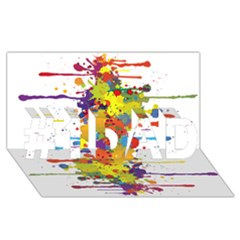 Crazy Multicolored Double Running Splashes #1 Dad 3d Greeting Card (8x4) by EDDArt
