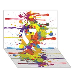 Crazy Multicolored Double Running Splashes Ribbon 3d Greeting Card (7x5) by EDDArt