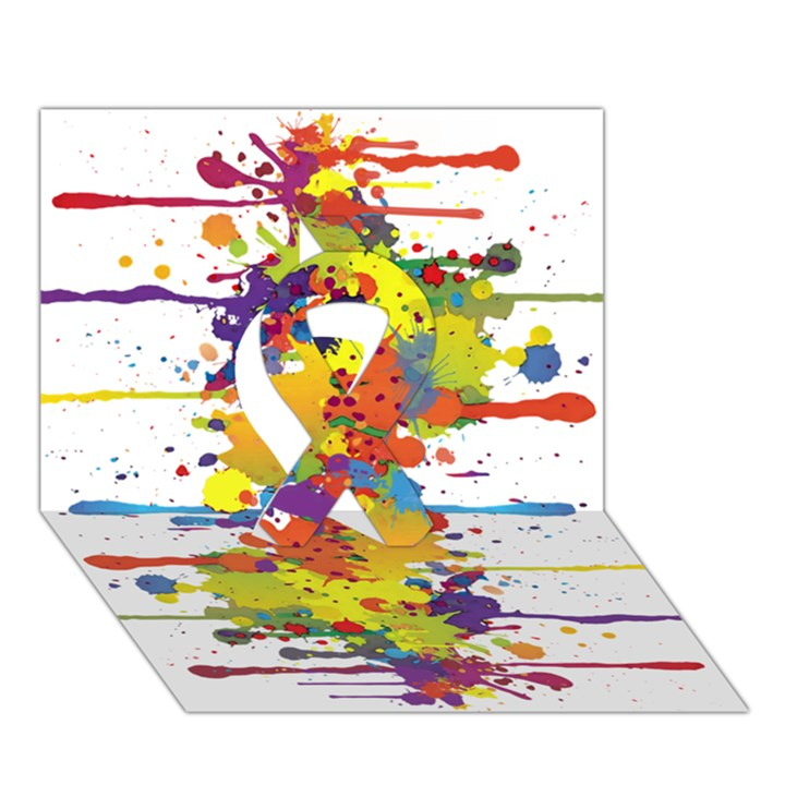 Crazy Multicolored Double Running Splashes Ribbon 3D Greeting Card (7x5)