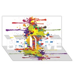 Crazy Multicolored Double Running Splashes Believe 3d Greeting Card (8x4) by EDDArt