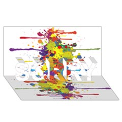 Crazy Multicolored Double Running Splashes Sorry 3d Greeting Card (8x4) by EDDArt
