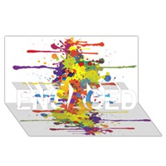 Crazy Multicolored Double Running Splashes Engaged 3d Greeting Card (8x4) by EDDArt