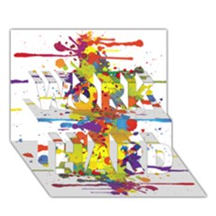 Crazy Multicolored Double Running Splashes Work Hard 3d Greeting Card (7x5) by EDDArt