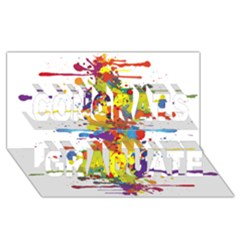 Crazy Multicolored Double Running Splashes Congrats Graduate 3d Greeting Card (8x4) by EDDArt