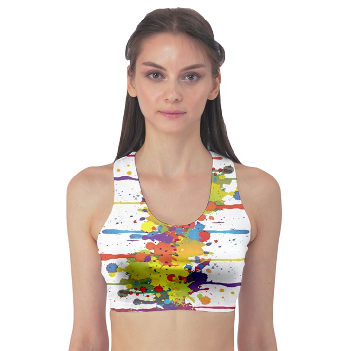 Crazy Multicolored Double Running Splashes Sports Bra