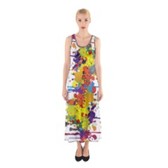 Crazy Multicolored Double Running Splashes Sleeveless Maxi Dress