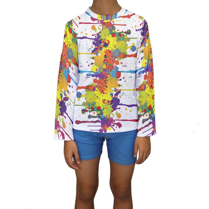Crazy Multicolored Double Running Splashes Kids  Long Sleeve Swimwear