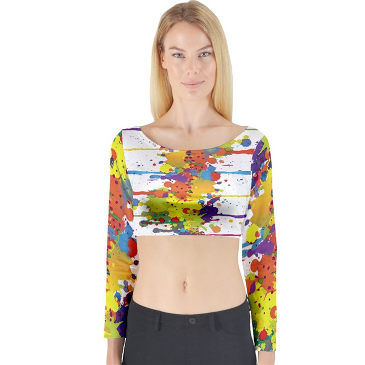 Crazy Multicolored Double Running Splashes Long Sleeve Crop Top