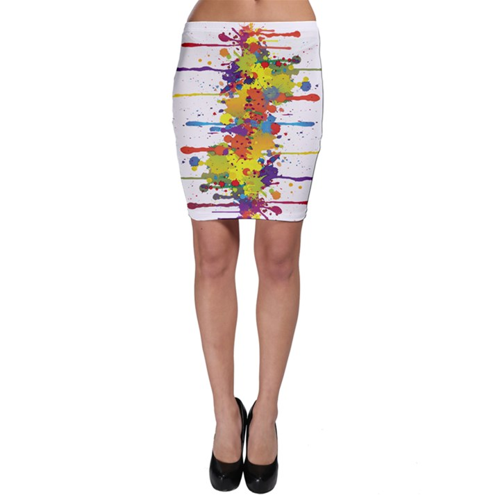 Crazy Multicolored Double Running Splashes Bodycon Skirt