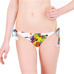 Crazy Multicolored Double Running Splashes Bikini Bottom