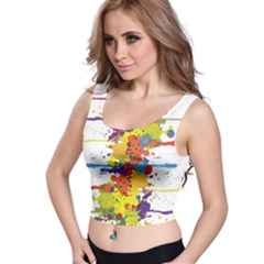 Crazy Multicolored Double Running Splashes Crop Top