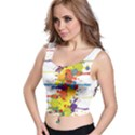 Crazy Multicolored Double Running Splashes Crop Top View1