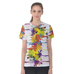 Crazy Multicolored Double Running Splashes Women s Cotton Tee by EDDArt