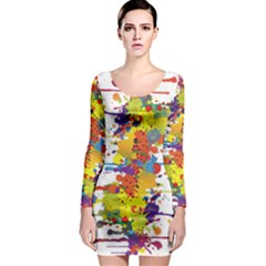 Crazy Multicolored Double Running Splashes Long Sleeve Bodycon Dress by EDDArt