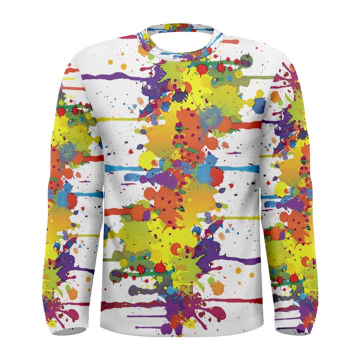 Crazy Multicolored Double Running Splashes Men s Long Sleeve Tee