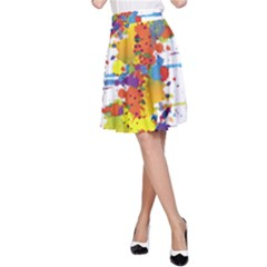 Crazy Multicolored Double Running Splashes A Line Skirt