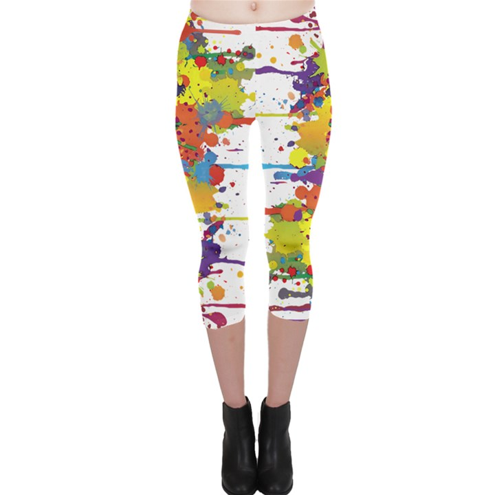 Crazy Multicolored Double Running Splashes Capri Leggings