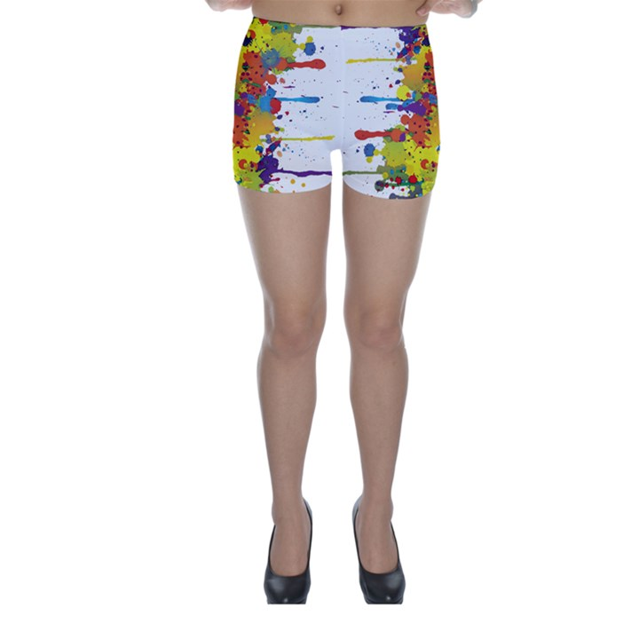 Crazy Multicolored Double Running Splashes Skinny Shorts