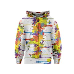 Crazy Multicolored Double Running Splashes Kids  Zipper Hoodie by EDDArt
