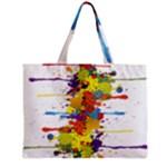 Crazy Multicolored Double Running Splashes Zipper Mini Tote Bag
