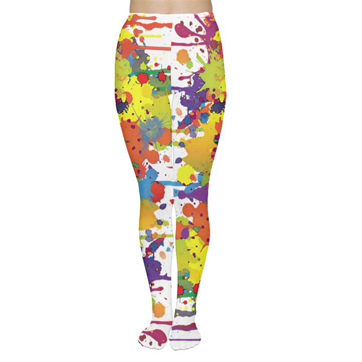 Crazy Multicolored Double Running Splashes Women s Tights