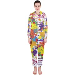 Crazy Multicolored Double Running Splashes Hooded Jumpsuit (ladies)