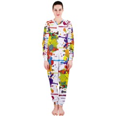 Crazy Multicolored Double Running Splashes Onepiece Jumpsuit (ladies)