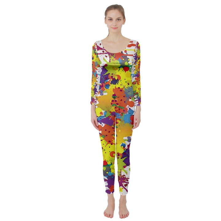 Crazy Multicolored Double Running Splashes Long Sleeve Catsuit