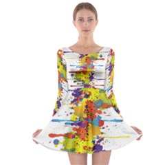 Crazy Multicolored Double Running Splashes Long Sleeve Skater Dress
