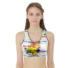 Crazy Multicolored Double Running Splashes Sports Bra With Border