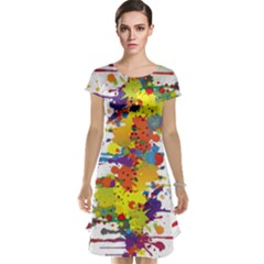 Crazy Multicolored Double Running Splashes Cap Sleeve Nightdress