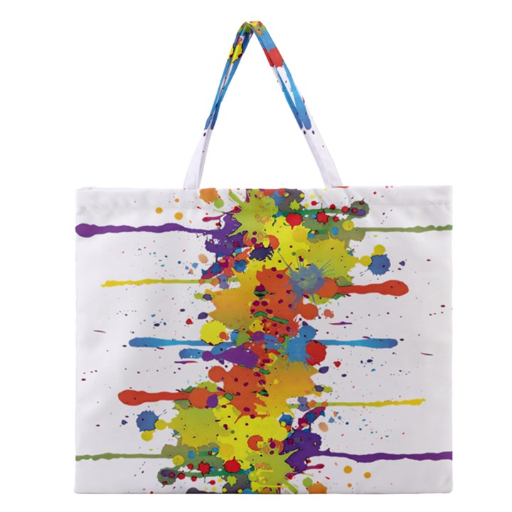 Crazy Multicolored Double Running Splashes Zipper Large Tote Bag