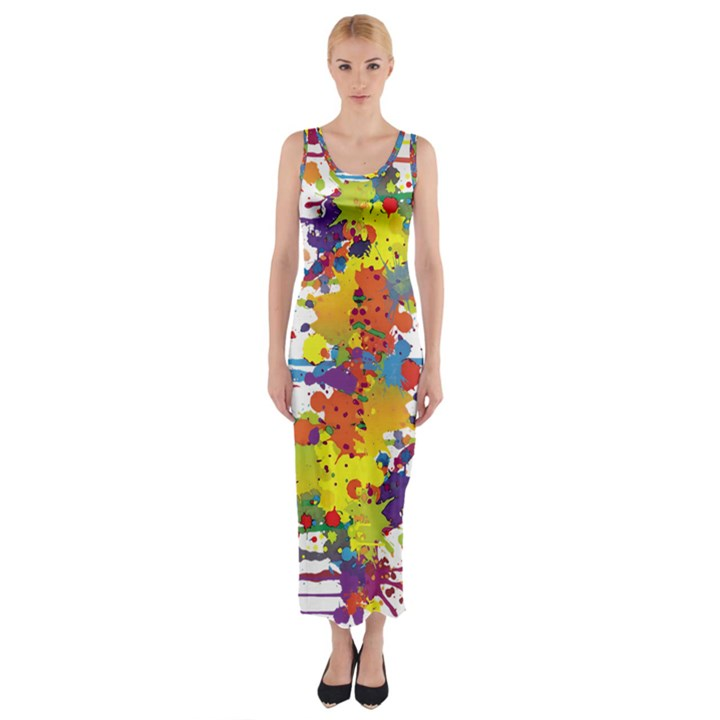 Crazy Multicolored Double Running Splashes Fitted Maxi Dress