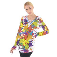 Crazy Multicolored Double Running Splashes Women s Tie Up Tee