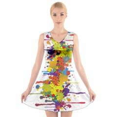 Crazy Multicolored Double Running Splashes V Neck Sleeveless Skater Dress by EDDArt