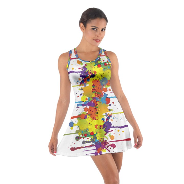 Crazy Multicolored Double Running Splashes Cotton Racerback Dress