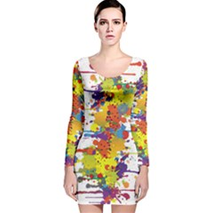 Crazy Multicolored Double Running Splashes Long Sleeve Velvet Bodycon Dress