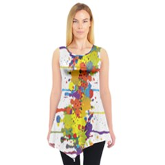 Crazy Multicolored Double Running Splashes Sleeveless Tunic