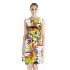 Crazy Multicolored Double Running Splashes Sleeveless Chiffon Waist Tie Dress by EDDArt