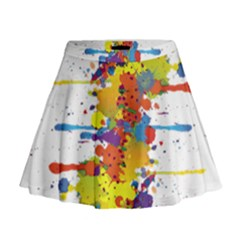 Crazy Multicolored Double Running Splashes Mini Flare Skirt by EDDArt