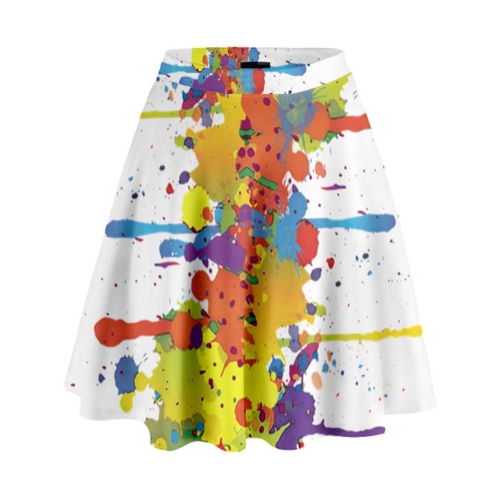 Crazy Multicolored Double Running Splashes High Waist Skirt