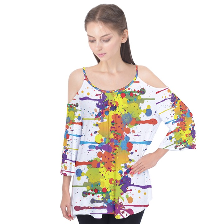 Crazy Multicolored Double Running Splashes Flutter Tees