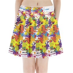 Crazy Multicolored Double Running Splashes Pleated Mini Skirt by EDDArt